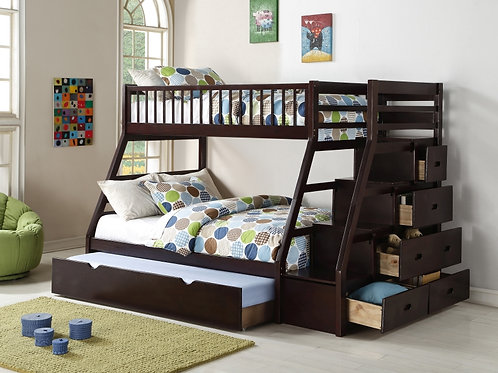 HH3000 Twin Over Full Staircase Bunk Bed With Trundle Set