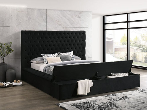 Paris Black Platform Bed - Queen