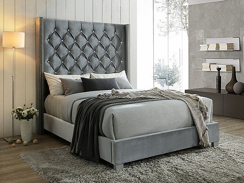 B9830 Beverly Grey Fabric Queen/King Bed
