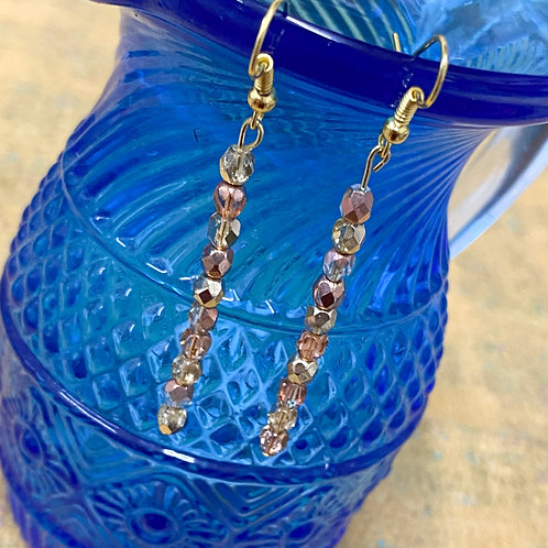 dainty gold and pink drop earrings