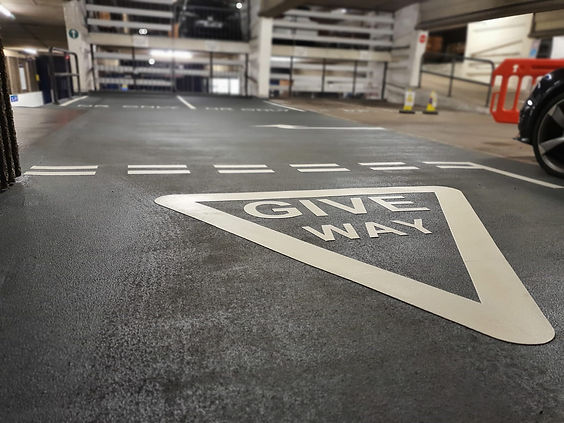 Line marking and tarmac at car park site