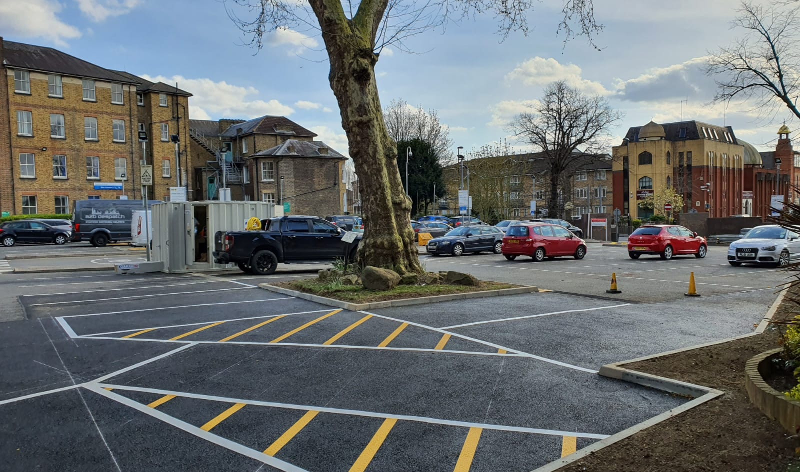 New parking bays, line marking. Car Park Extension, Croydon