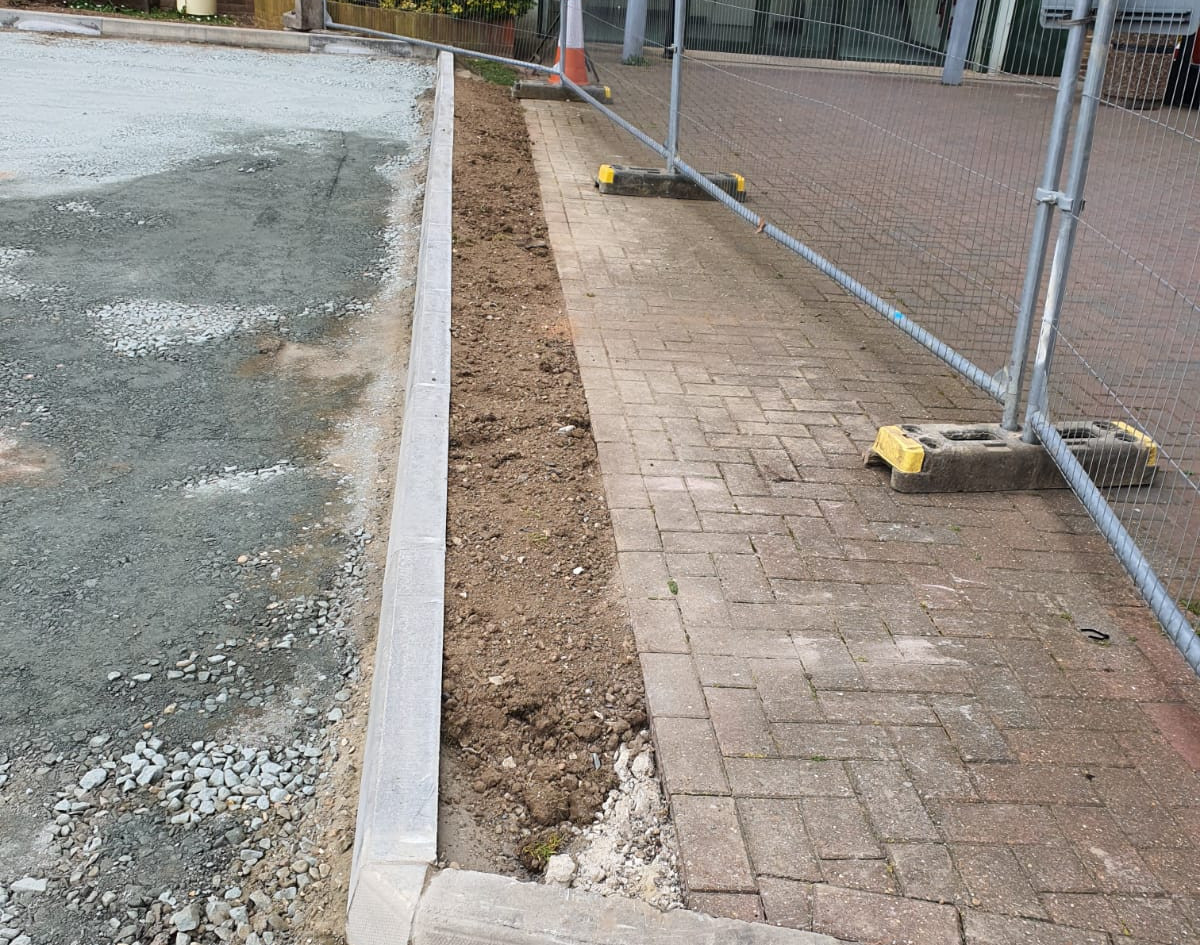 New curbing. Car Park Extension, Croydon