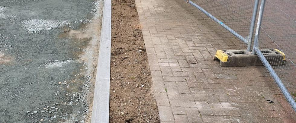 New curbing. Car Park Extension,Croydon