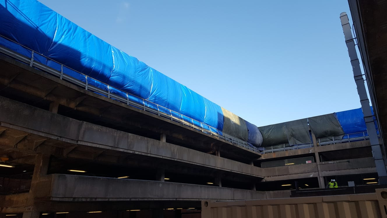 Paint spraying. Multi-Story Car Park, Nottingham