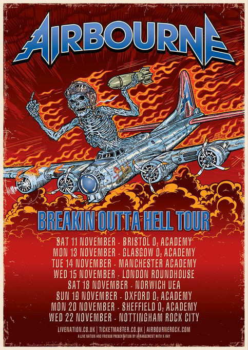 Airbourne UK tour dates announced for November 2017!