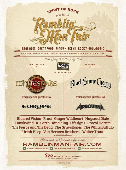 Airbourne announced for Ramblin' Man Fair in Kent, 24th July 2016!