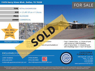 SOLD - 11476 Harry Hines Blvd., Dallas - 21,491 SF Retail/Showroom on 5 Acres of Land