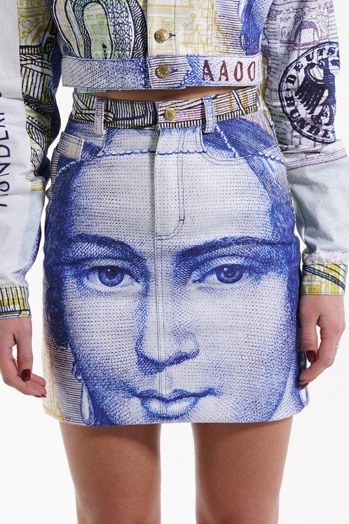 """""""100 DM"""" Mini Denim Skirt"""