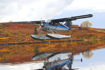 A floatplane full of excited guests arrives at Caribou Lodge from Anchorage