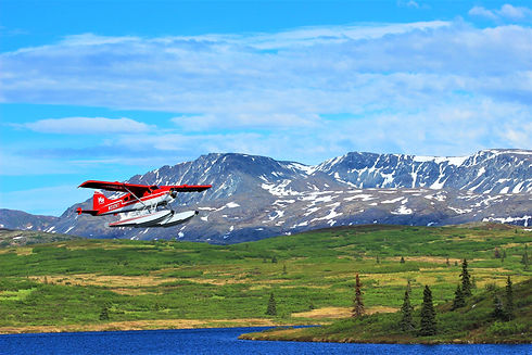 Float Plane Flying in by Caribou LodgeAlaska