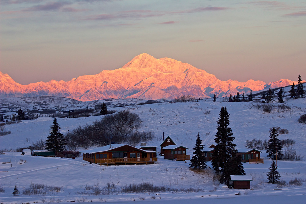 Denali is the tallest mountain in North America. Only 75 air miles from Caribou Lodge Alaska.