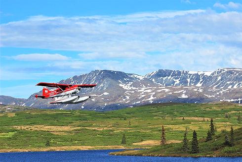 k2 Aviation leaving Caribou Lodge Alaska-lodging in the denali area