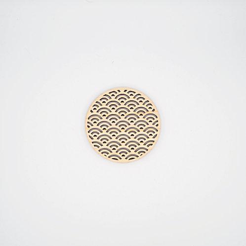 檜木杯墊 - 青海波