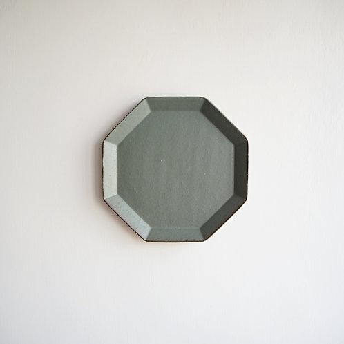 美濃燒 - 大八角盤 - 灰綠