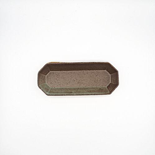 美濃燒 - 八角長盤 - 灰綠
