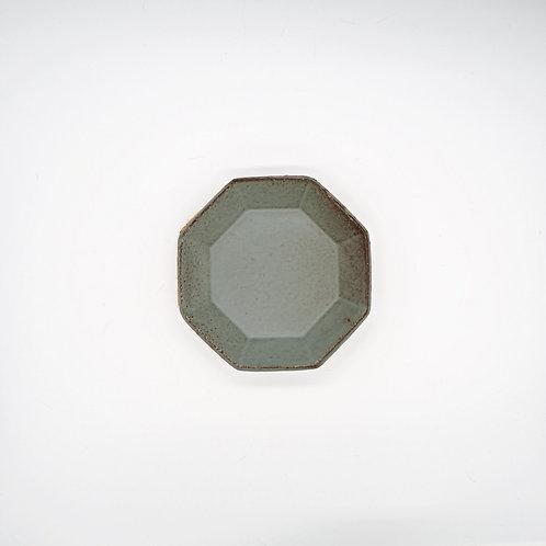 美濃燒 - 八角盤 - 灰綠
