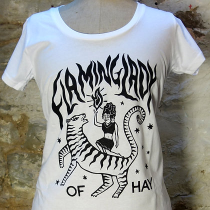 Flaming Lady Scoop Neck T-shirt White.