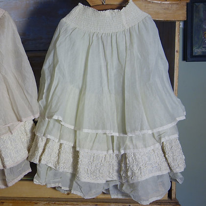 Handmade French Organza Petticoat - Creme