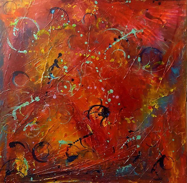 FRACTALS, FLOWERS AND FACADES_20 x 20_Original art by Heather Thompson Blue Phoenix Art