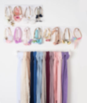 This image shows all the hairband and wrap that I have hanging on the wall in my studio