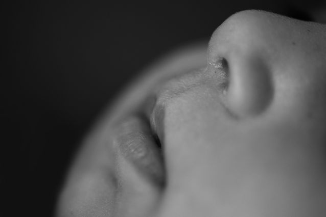 Newborn lips and nose macro shot