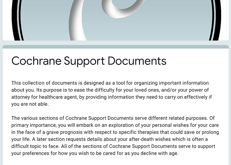 Cochrane Support Documents