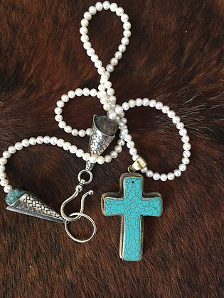 Turquoise Cross on Pearls
