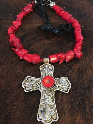Large Silver Cross with Coral