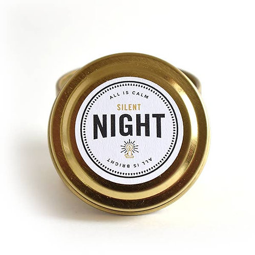 Holiday Candle // Silent Night Travel Tin Literary Candle