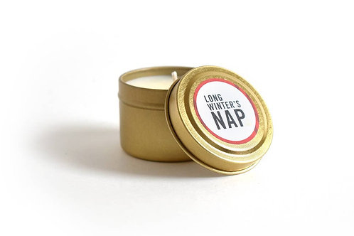 Holiday Candle / Long Winter's Nap Travel Tin Literary