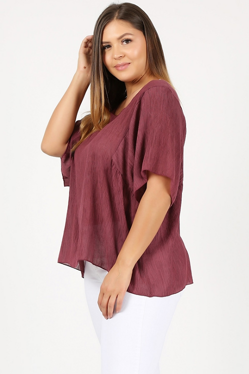Plus Size 3/4 Sleeve Blouse - Brick