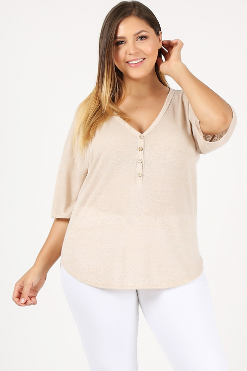 Plus Size Cream 3/4 Sleeved Knit Top