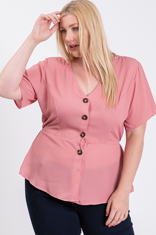 Plus Size Pink Peplum Top