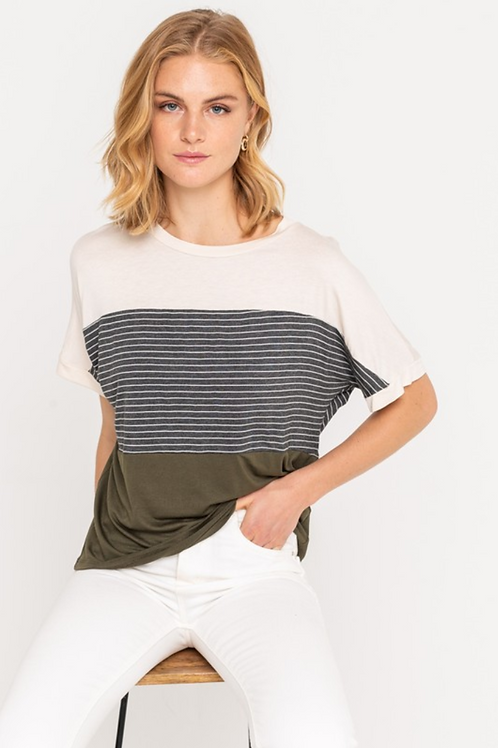 Iris Striped Color Block Tee