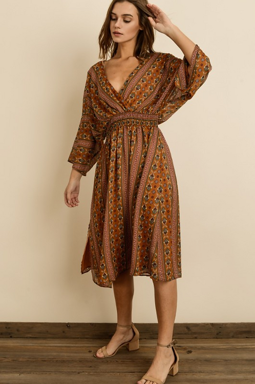 Elsie 3/4 Sleeve Midi Dress