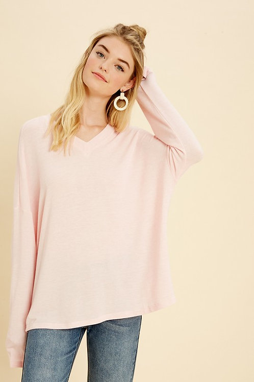 Esker Long Sleeved Super Soft V-Neck Sweater Tee