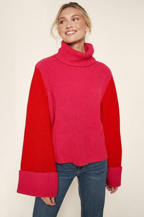 Sugarlips Jojo Colorblock Turtleneck Sweater
