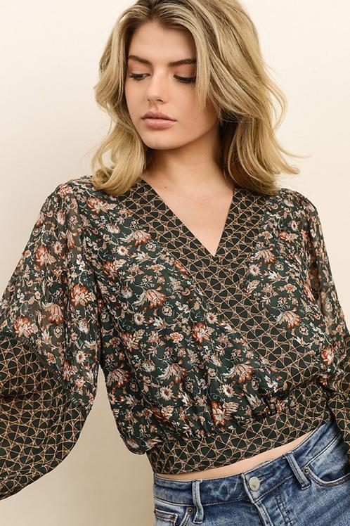 Genevieve Geo Pattern & Floral Kimono Top