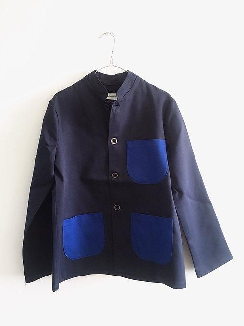 Jacket blue&royal Mao collar