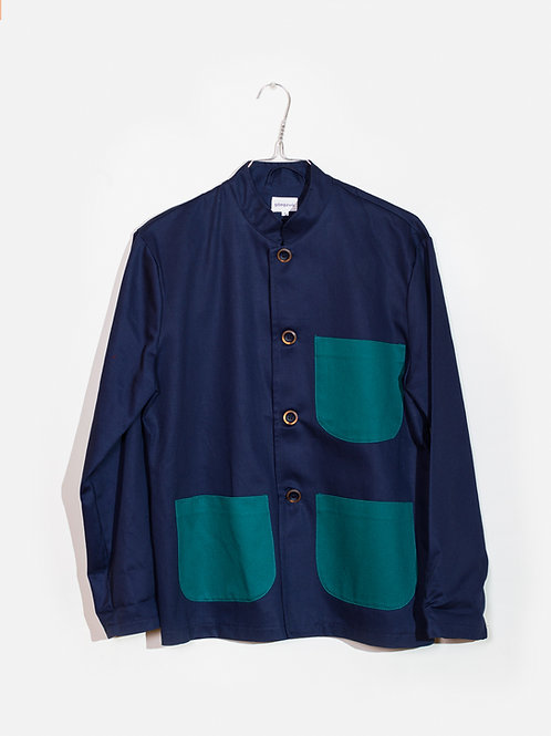 Jacket blue&green-Mao collar