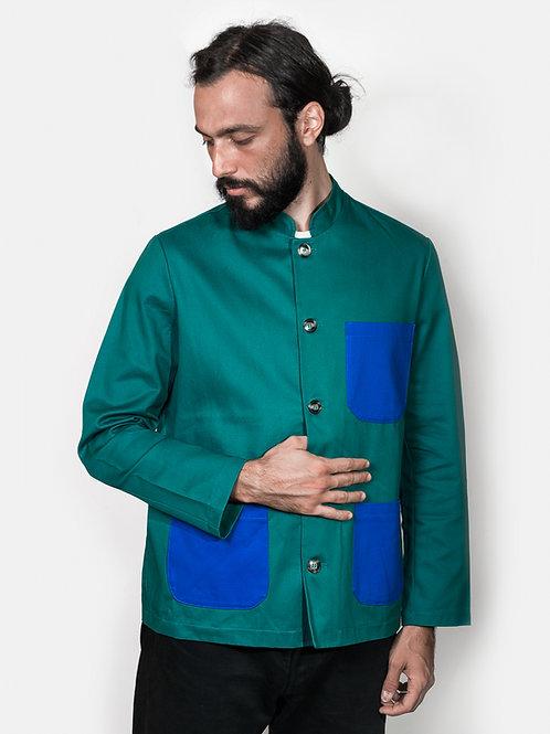 Jacket green&royal- Mao collar