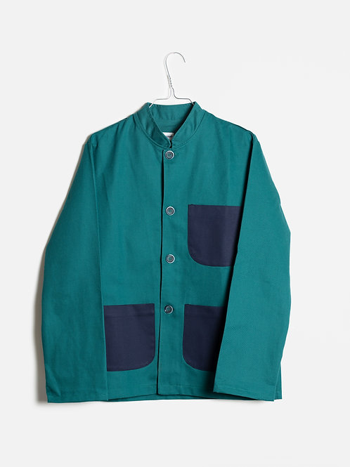Jacket green&blue-Mao collar