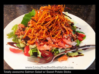SALMON SALAD WITH SWEET POTATO STICKS