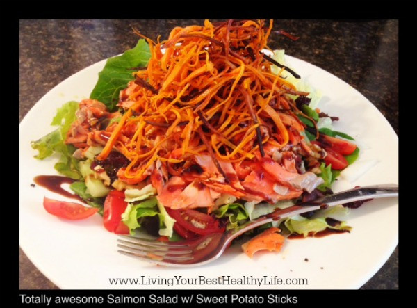 Salmon Salad w/ Sweet Potato Sticks | Living Your Best Healthy Life