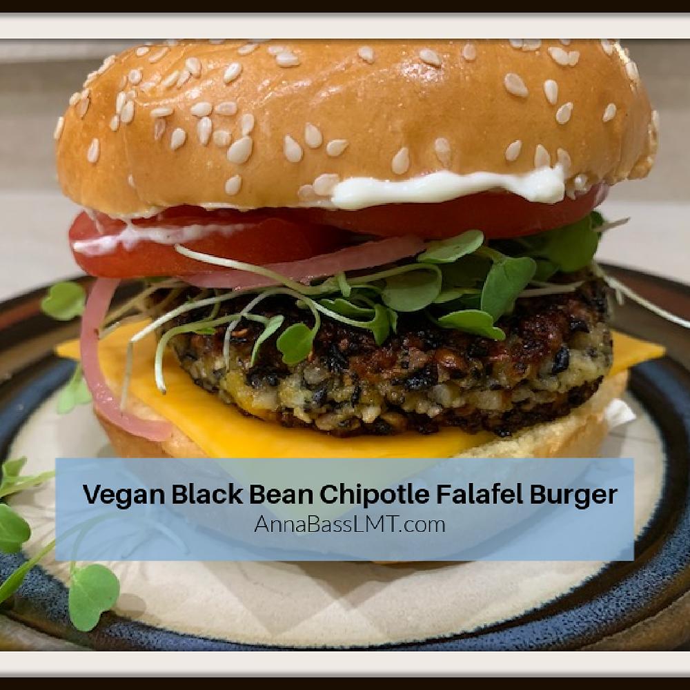 Vegan Black Bean Chipotle Falafel Burger | AnnaBassLMT.com | Riverview FL