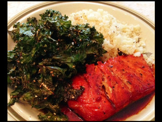 PAN-SEARED SALMON, KALE CHIPS, & CAULIFLOWER 'RICE'