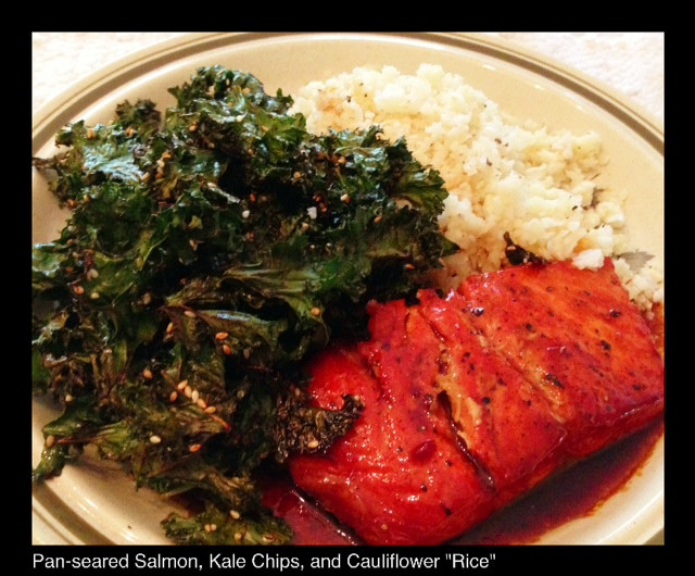 Pan-Seared Salmon, Kale Chips, & Cauliflower 'Rice' | Living Your Best Healthy Life