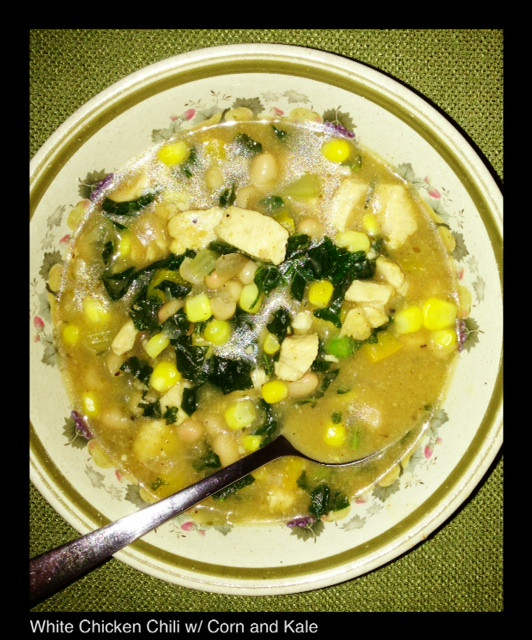 WHITE CHICKEN CHILI WITH CORN AND KALE | Living Your Best Healthy Life