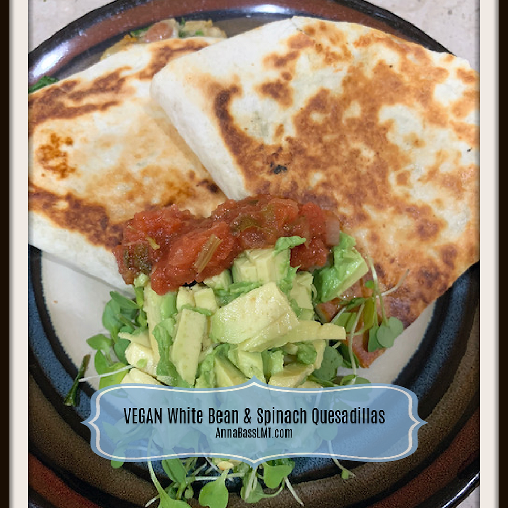 VEGAN White Bean & Spinach Quesadillas | AnnaBassLMT.com | Riverview FL